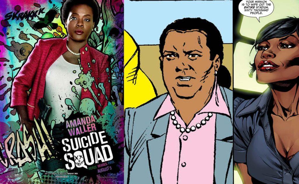 (L to R) Viola Davis as Amanda Waller in 'Suicide Squad' film (2016), Amanda Waller from Suicide Squad (2011), and Suicide Squad (1987).