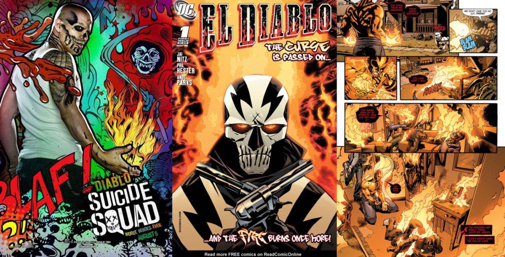 (L to R): Jay Hernandez as Diablo in 'Suicide Squad' movie (2016), El Diablo cover (November 2008), and El Diablo in Suicide Squad (2011).