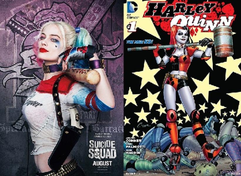 Left: Margot Robbie as Harley Quinn in the 2016 film; Right: Harley Quinn (2014) cover.