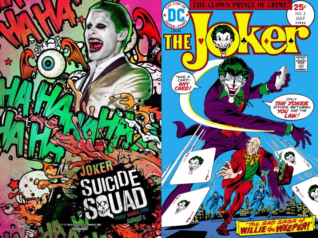 Left: Jared Leto as Joker in the 'Suicide Squad' movie (2016); Right: The Joker comic book cover (July 1975).