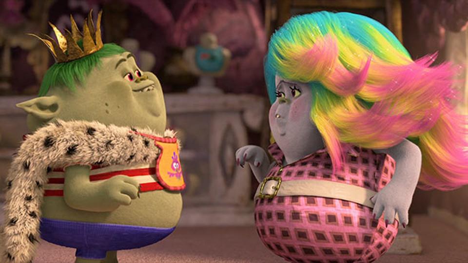 King Gristle, Jr. and Lady Glittersparkles in 'Trolls' (Trolls/ DreamWorks Animation)