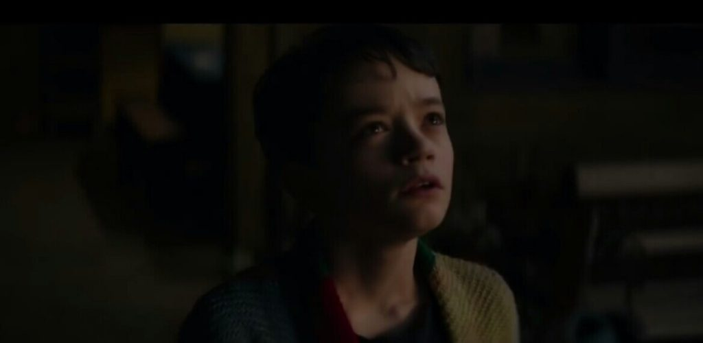 Conor O'Malley, played by Lewis MacDougall (Scene from 'A Monster Calls' [2016])